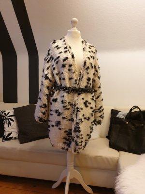 Veste en laine blanc-noir