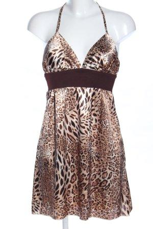 ice design Vestido de cuello Halter crema-marrón estampado de leopardo