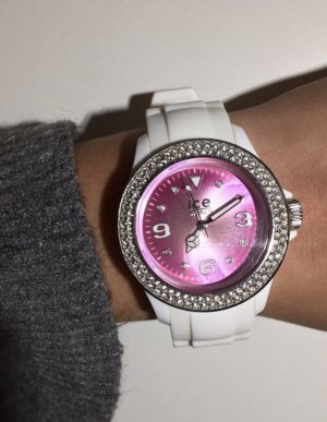 Ice watch Montre avec bracelet en cuir rose-blanc