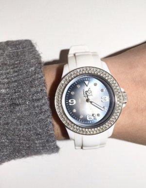 Ice watch Montre avec bracelet en cuir blanc-gris ardoise