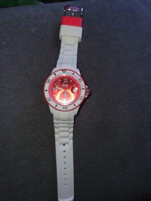 Analoog horloge wit-lichtrood