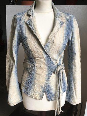 * ICEBERG * JEANS JACKE BLAZER blau weiß Batik Stil Muster Gr M / 36 38