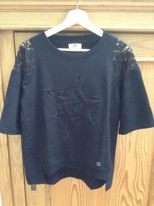 Iceberg Kurzarmsweatshirt schwarz mit Spitze, Gr. 40