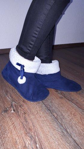 Pantoufles-chaussette bleu foncé-argenté