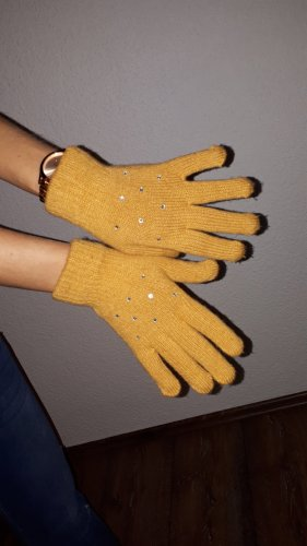 Knitted Gloves lime yellow-silver-colored