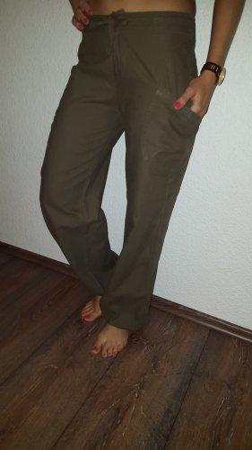 Lniane spodnie ochra