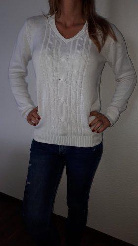 Blue Motion Sweter z dzianiny biały