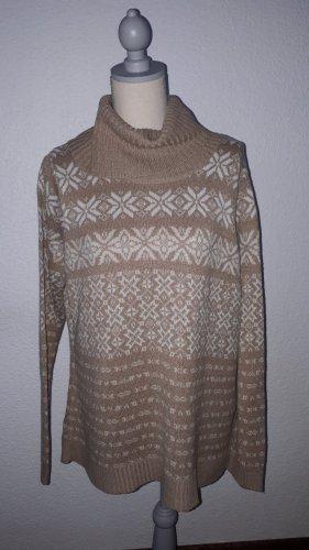 Biaggini Sweter z golfem camel-biały