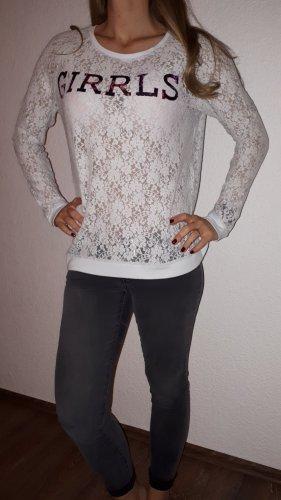 GIRRLS Camisa de malla magenta-gris claro