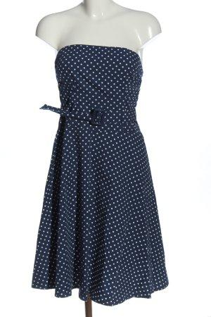 Ichi A-Linien Kleid blau-weiß Punktemuster Casual-Look