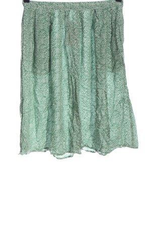 Ichi Rozkloszowana spódnica zielony-biały Abstrakcyjny wzór W stylu casual