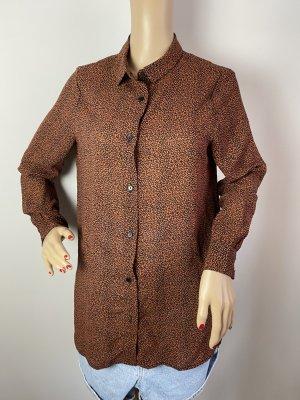 Ichi Cuello de blusa color bronce-negro tejido mezclado