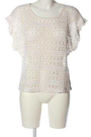 Ichi Pull en crochet blanc cassé style décontracté
