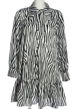 Ichi Robe chemise blanc-noir motif abstrait style décontracté
