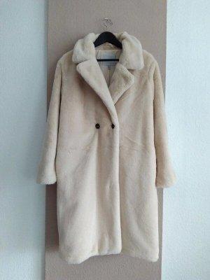 ICHI hübscher Mantel aus künstlichem Fell in hellbeige, kein Farbverlauf, Grösse S oversize