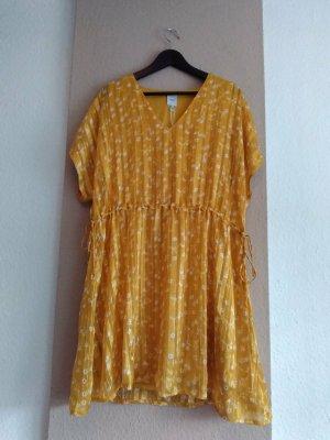 Ichi Vestido tipo túnica amarillo-blanco Poliéster