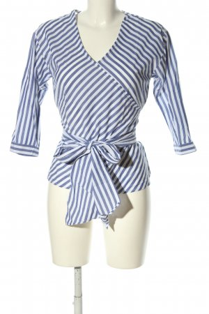 Ichi Kimono Blouse blue-white striped pattern casual look