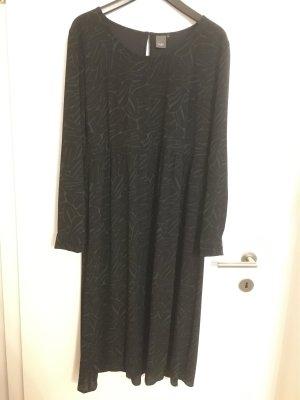 ICHI Kleid langarm schwarz mit grün gefüttert, Gr. XL wie NEU
