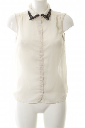 Ichi Kurzarm-Bluse creme Business-Look