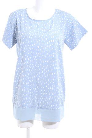 Ichi Kurzarm-Bluse blau-weiß Allover-Druck Casual-Look