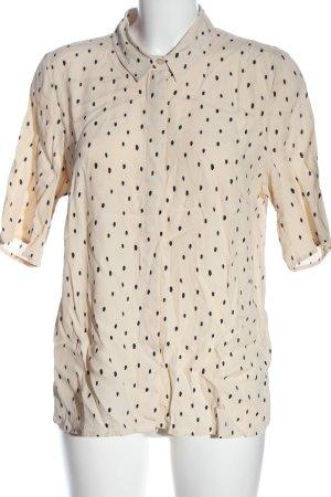 Ichi Chemise à manches courtes crème-noir imprimé allover style décontracté