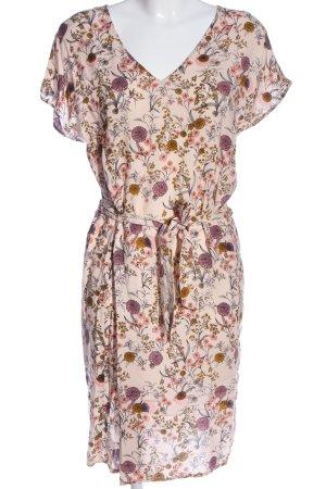 Ichi Kurzarmkleid pink-creme Allover-Druck Casual-Look