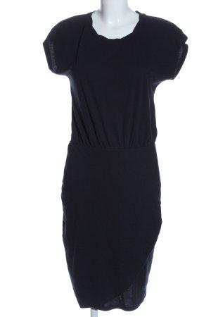 Ichi Sukienka z krótkim rękawem czarny Tkanina z mieszanych włókien