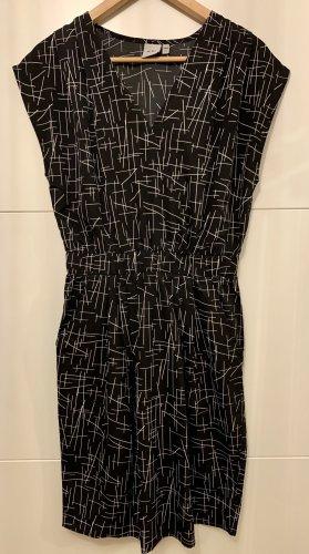 Ichi Vestido de manga corta negro-blanco