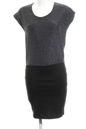 Ichi Kurzarmkleid schwarz-silberfarben Elegant