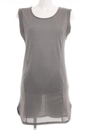Ichi Kurzarmkleid schwarz-weiß abstraktes Muster Business-Look