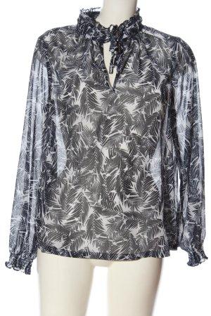 Ichi Langarm-Bluse schwarz-weiß Allover-Druck Business-Look