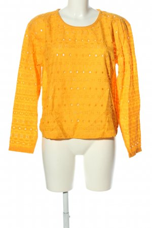 Ichi Langarm-Bluse hellorange grafisches Muster Casual-Look