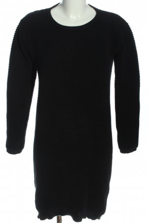 Ichi Langarmkleid schwarz Streifenmuster Casual-Look