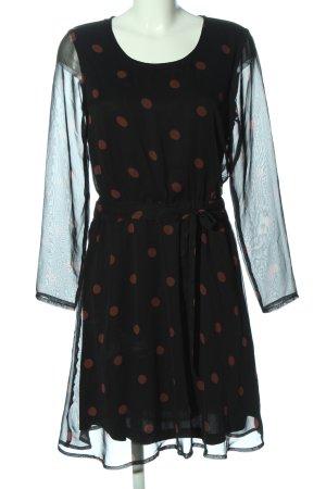 Ichi Vestido de manga larga negro-marrón estampado a lunares elegante