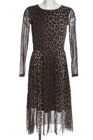 Ichi Robe à manches longues brun-noir imprimé allover style décontracté