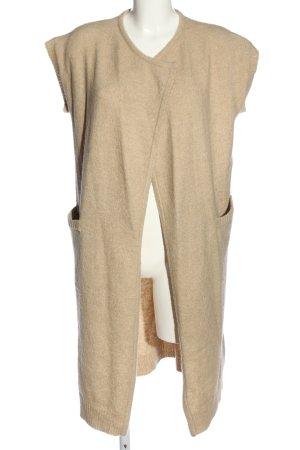Ichi Gilet long tricoté crème moucheté style décontracté