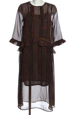 Ichi Robe mi-longue brun-noir motif animal style décontracté