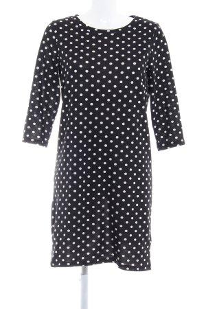 Ichi Pulloverkleid schwarz-weiß Punktemuster Casual-Look