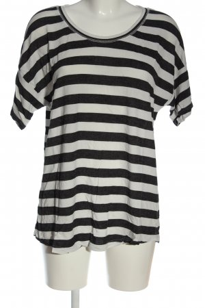 Ichi Camisa de rayas negro-blanco puro estampado a rayas look casual