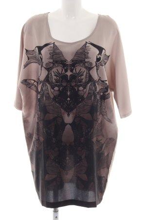 Ichi Shirtkleid schwarz-creme abstraktes Muster Casual-Look