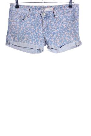 Ichi Shorts blue-light orange flower pattern casual look