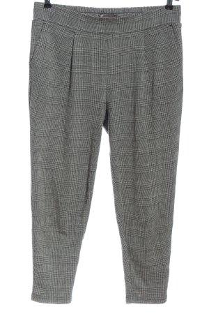 Ichi Jersey Pants black-white check pattern business style