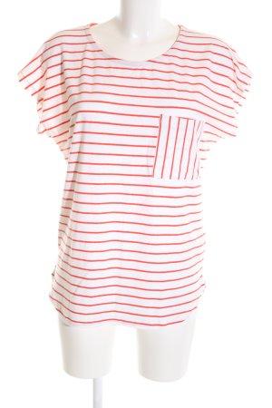 Ichi T-Shirt weiß-rot Streifenmuster Casual-Look