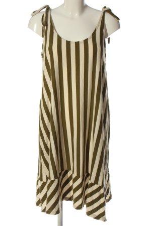 Ichi Vestido tipo overol blanco puro-color bronce estampado a rayas look casual