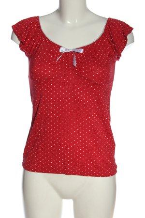 Ichi Camisa de cuello barco rojo-blanco estampado a lunares look casual