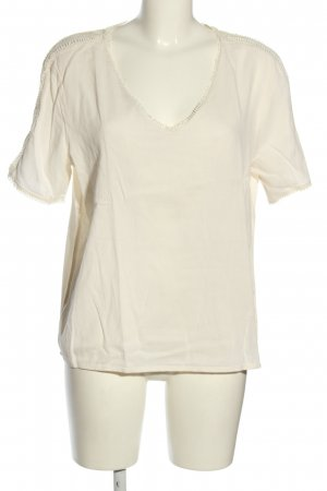 Ichi T-shirt col en V blanc cassé style décontracté