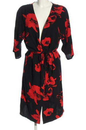 Ichi Wikkeljurk zwart-rood bloemenprint casual uitstraling
