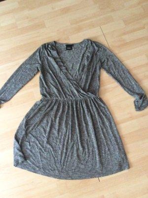 Ichi Wickeloptik Kleid Gr M grau meliert