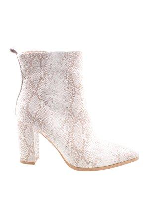 ideal shoes Reißverschluss-Stiefeletten nude-weiß Allover-Druck Casual-Look