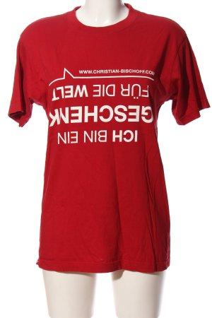 Identity Print-Shirt rot-weiß Schriftzug gedruckt Casual-Look
